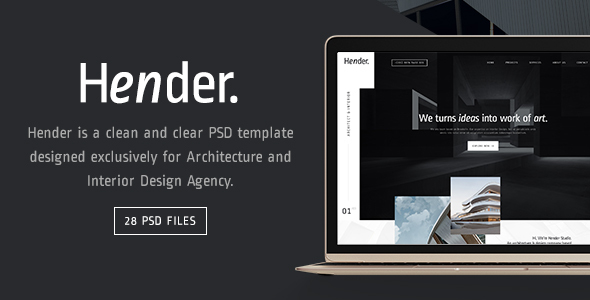Hender - Architecture and Interior Design Agency PSD Template