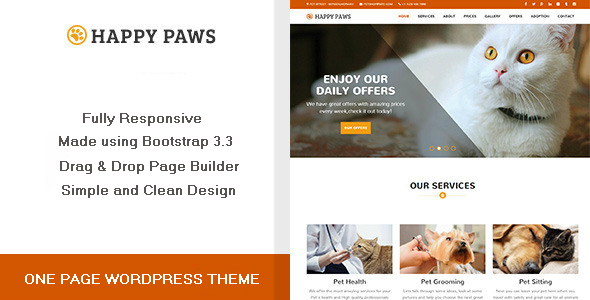 Download Happy Paws - One Page WordPress Theme