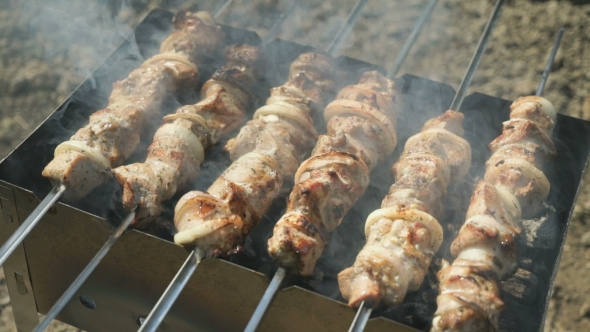 Download Meat Are Prepared On Metal Skewers On The Coals nulled download