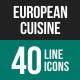 European Cuisine Line Icons-Graphicriver中文最全的素材分享平台