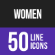 Women Line Inverted Icons