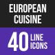 European Cuisine Line Inverted Icons