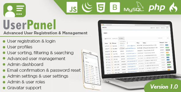 Download UserPanel - Advanced User Registration and User Management PHP Script nulled download