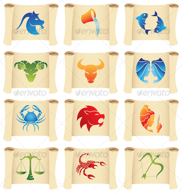 zodiac signs on scrolls