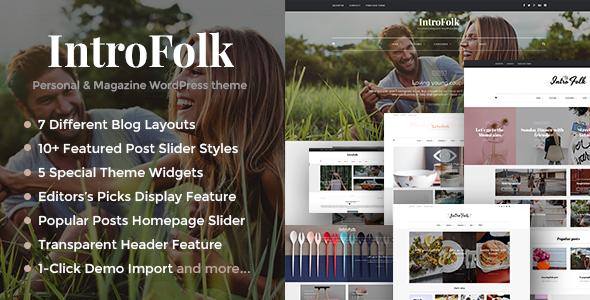Introfolk - Personal & Magazine WordPress Responsive Blog Theme