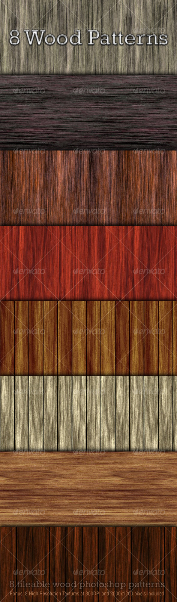 8 Seamless Wood Patterns - Textures / Fills / Patterns Photoshop