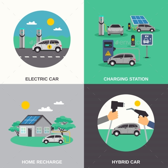 Electric Car 4 Flat Icons Square