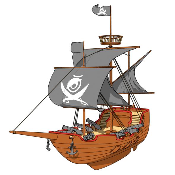 Cartoon Pirate Ship - 3DOcean Item for Sale