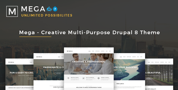 Mega - Creative Multi-Purpose Drupal 7 - 8 Theme