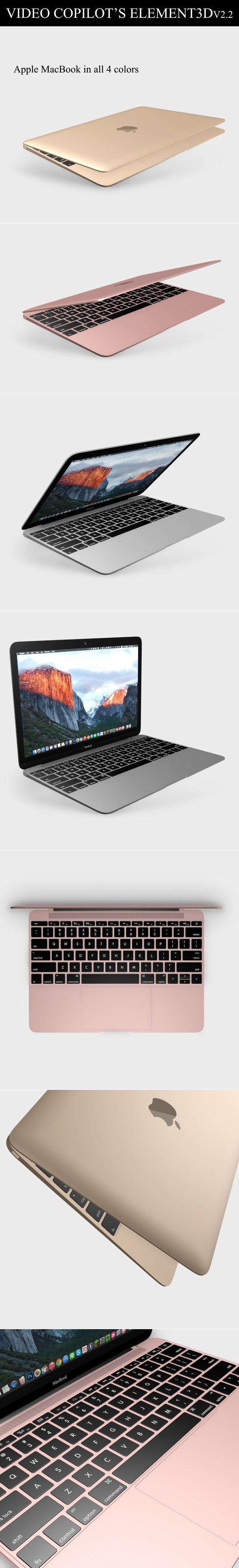 Element3D - Apple Macbook 2015 - 3DOcean Item for Sale