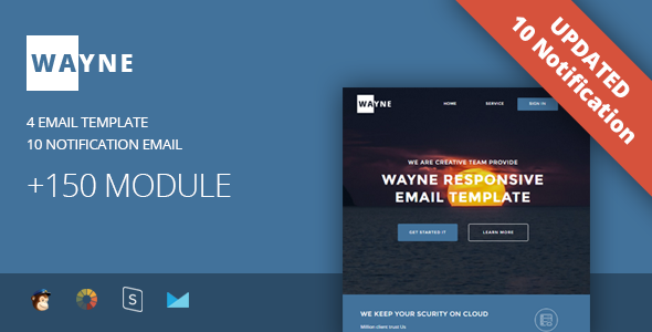 Image of Wayne - Multipurpose Responsive Email Template + Stampready Builder