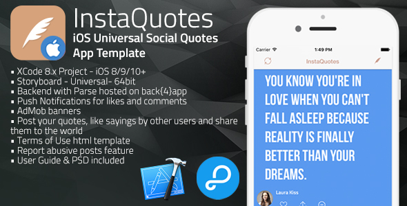InstaQuotes | iOS Universal Social Quotes App Template (Swift)