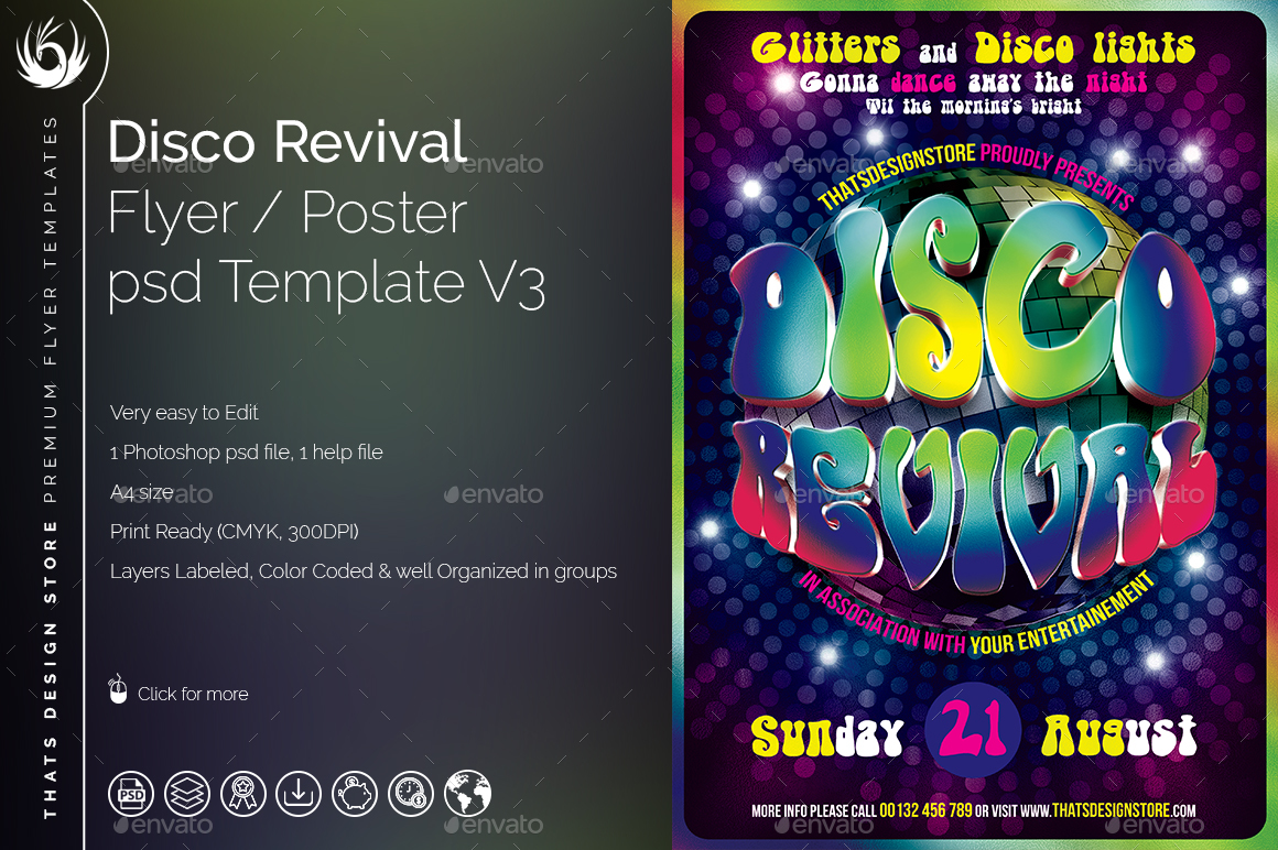 disco revival flyer template v by lou graphicriver 01 disco revival flyer template v3 jpg