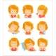 Little Red Head Girl Cute Portrait Icons