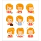 Young Red Head Girl Cute Portrait Icons