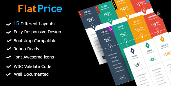 CodeCanyon FlatPrice Responsive Bootstrap Pricing Tables 18190746