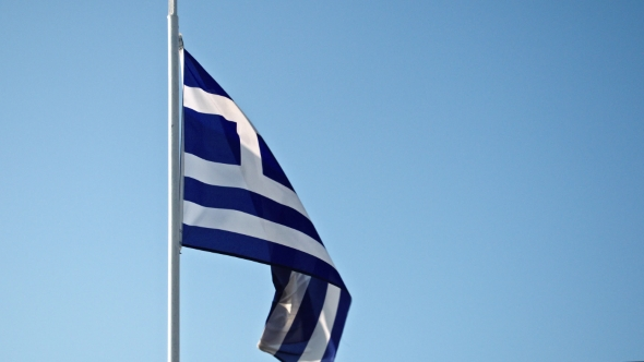 Download Greece Flag Waving In The Wind Against The Sky nulled download