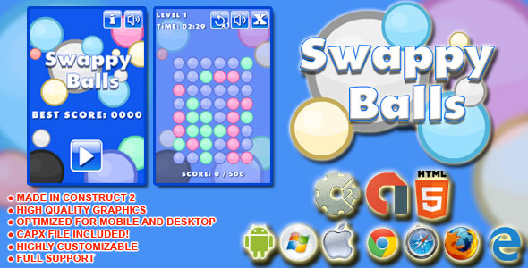Swappy Balls - HTML5 Game+AdMob+Construct-2 CAPX