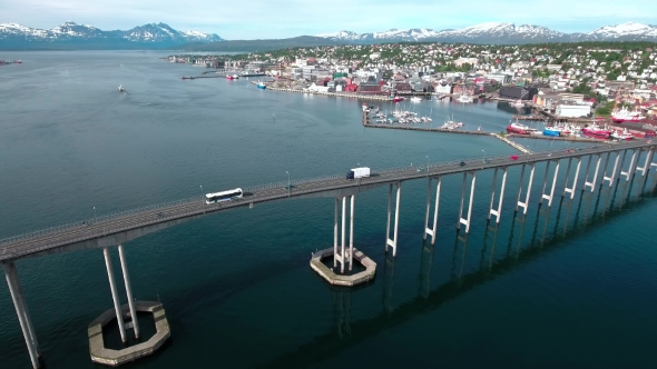 Download Bridge Of City Tromso, Norway Aerial Footage nulled download