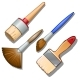 Set Of Four Different Brushes For Painting. Vector