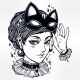 Anime Or Retro Manga Style Woman With a Cat Mask.