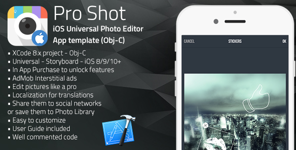 Pro Shot | iOS Universal Photo Editor App Template (Obj-C)