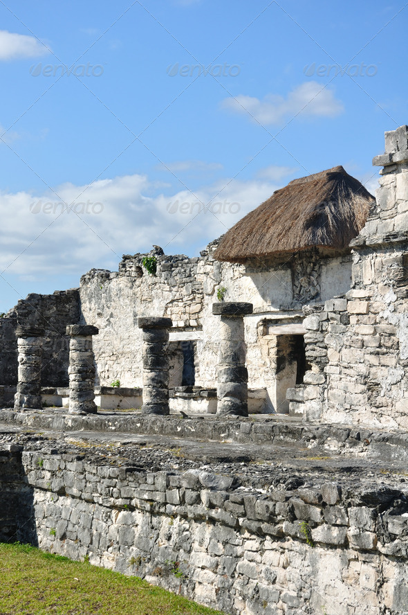 Mayan Ruins at Tulum in Mexico - Stock Photo - Images