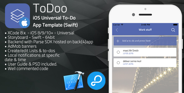 ToDoo | iOS Universal To-Do App Template (Swift)