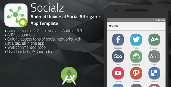 Socialz | Android Universal Social Aggregator App Template