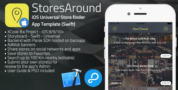 StoresAround | iOS Universal Store Finder App Template (Swift)