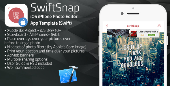 SwiftSnap - iOS iPhone Overlays on Photos App Template (Swift)