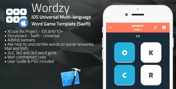 Wordzy | iOS Universal Multi-Language Word Game Template  (Swift)