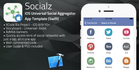 Socialz ios universal social aggregator app template for News aggregator template