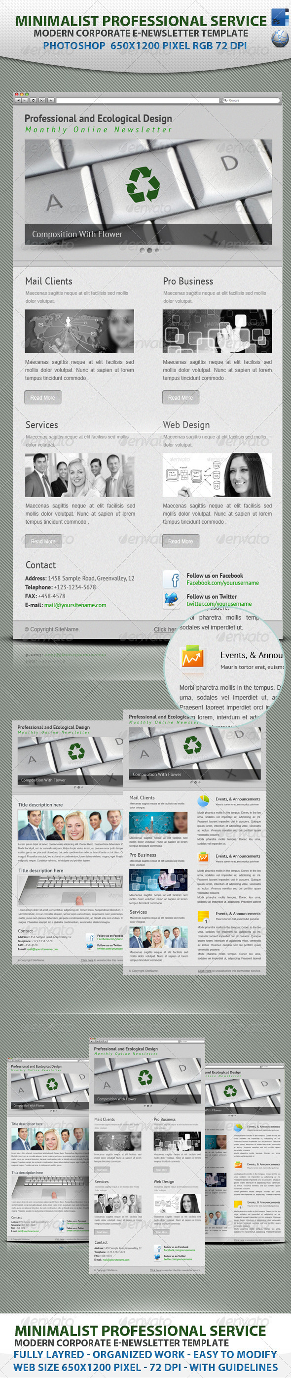 Minimalist professional service E-newsletter - E-newsletters Web Elements