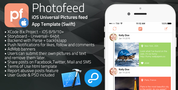 Photofeed | iOS Universal Social Photo feeds App Template (Swift)