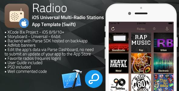 Radioo | iOS Universal Multi-Radio Stations App Template (Swift)