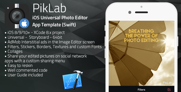 PikLab | iOS Universal Photo Editor App Template (Swift)