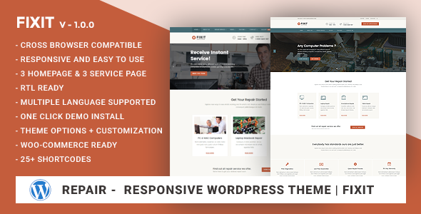 Download Phone, Computer Repair Shop Responsive WordPress theme - Fixit nulled download