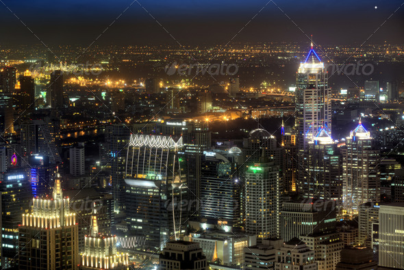 Night View of building and urban in Bangkok - Stock Photo - Images