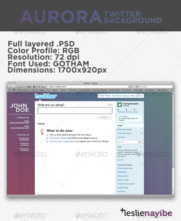 GraphicRiver Aurora Twitter Background 70274