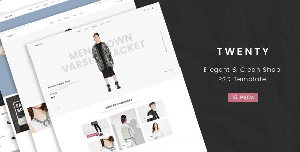Twenty- Elegant & Clean Shop PSD Template
