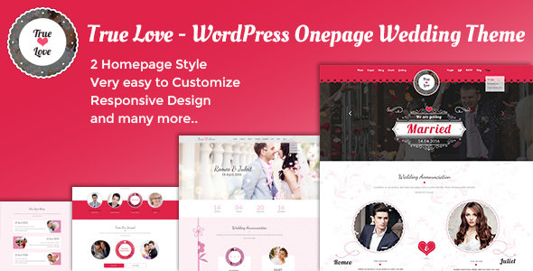 Download True Love - WordPress Onepage Wedding Theme nulled download