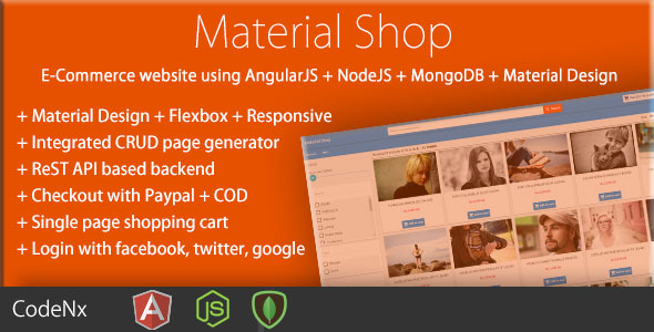 Material Shop - Material Designed Shopping Cart Using AngularJS - CodeCanyon Item for Sale