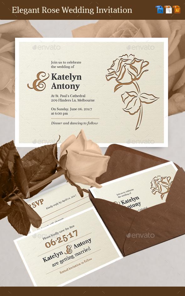 Elegant Rose Wedding Invitation