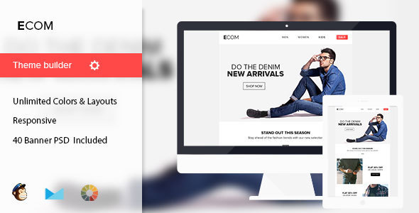 Image of Ecom - Minimal Email Template + 40 Banners