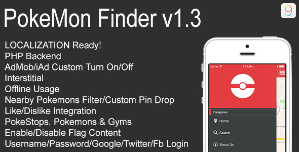 PokeMon Finder Full iOS Application v1.3
