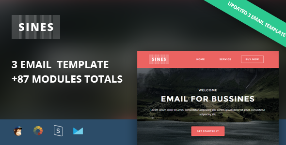 Image of Sines - Multipurpose Responsive Email Template + Stampready Builder