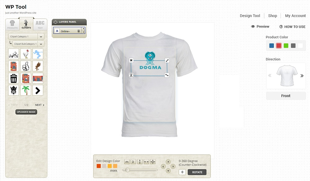 Online product designer t shirt wordpress plugin wpmeta for T shirt designer plugin