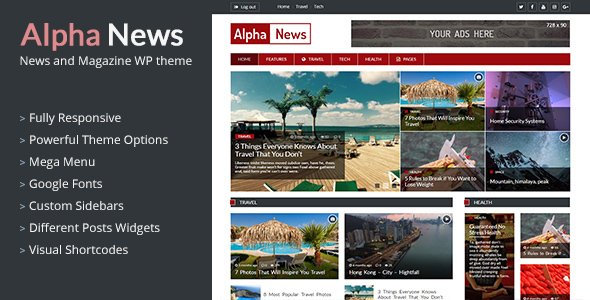 AlphaNews - Responsive News and Magazine WordPress Theme