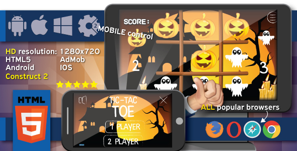 Halloween TicTacToe - HTML5 game + mobile. Construct2 (.capx) + Cocoon ADS
